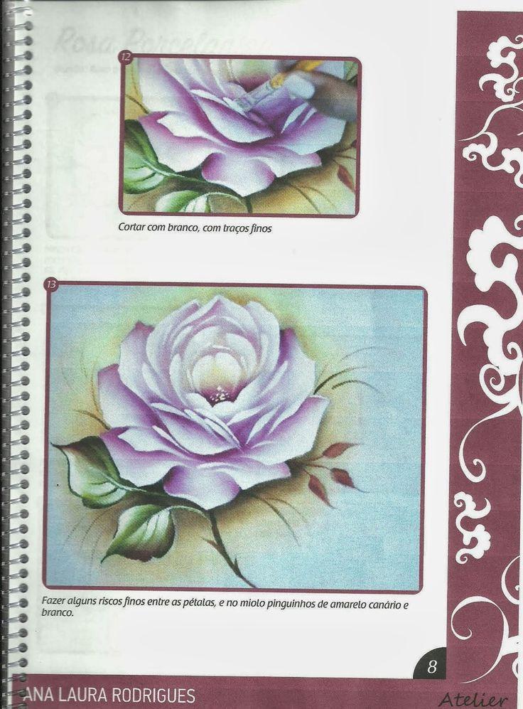 Talita Monteiro: C/Womo Pintar Rosa Porcelanizada/Wilma Cherpinsky board on painting roses, beautiful projects!