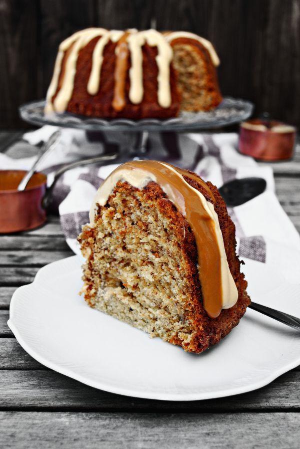 Banoffee bundt cake {de plátano & dulce de leche}