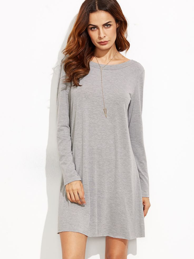 Shop Heather Grey V Back Tee Dress online. SheIn offers Heather Grey V Back Tee Dress & more to fit your fashionable needs.
