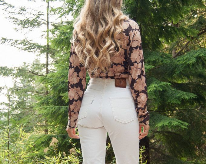 Jahrgang Valentino Jeans, Frauen 27 28 Taille Creme weiß High Waisted Jeans, 90er Jahre Grunge hohe Taille Jeans, Boho-Boyfriend-Jeans, Mom Jeans