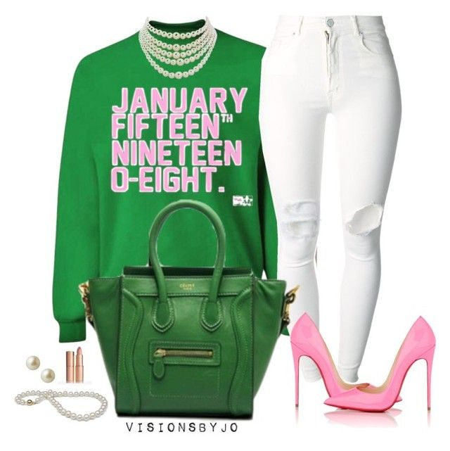 """Alpha Kappa Alpha"" by visionsbyjo on Polyvore featuring (+) PEOPLE, Christian Louboutin, Christian Dior, Carolee, women's clothing, women's fashion, women, female, woman and misses"