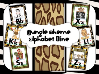 More Jungle Theme Room Decor...has numbers products too (TPT)
