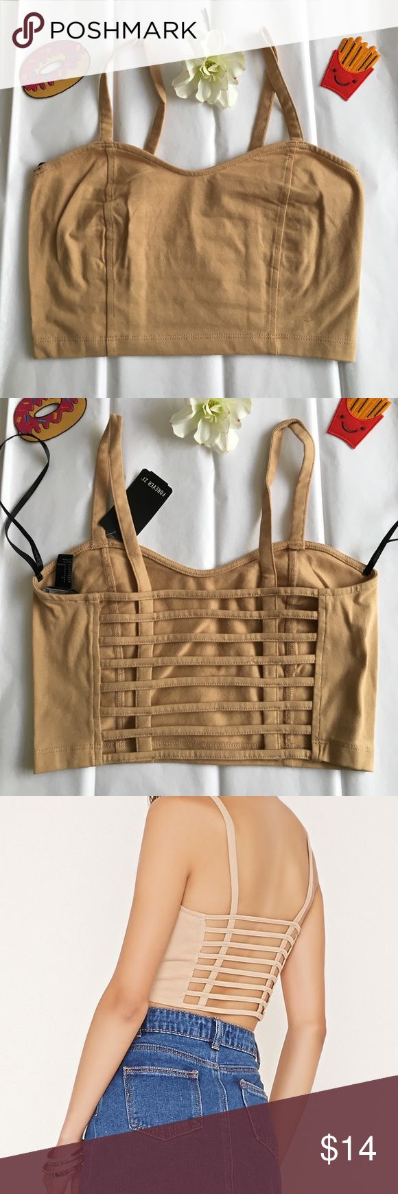 NWT Nude/Camel Caged Crop Top! NWT Caged Crop top! It's like those super cute Bralettes but in a longer/crop top length! Super cute under dresses or open back shirts or worn alone! Whatever meets your fancy😍💘💕 it's a cotton style fabric & is stretchy! Could fit a smaller Medium:) gorgeous camel/nude color! ❌NO TRADES NO LOW BALLERS❌  all prices are negotiable, but please don't be rude & low ball 😞 REASONABLE offers are always accepted ❤️ unable to do try ons at the moment because I'm…