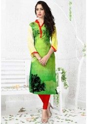 DESIGNER PURE GEORGETT DIGITAL PRINT GREEN SHADED  KURTIS