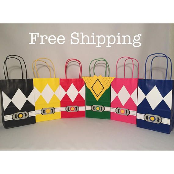 12 Power Rangers Party Bags Loot Goodie Totes