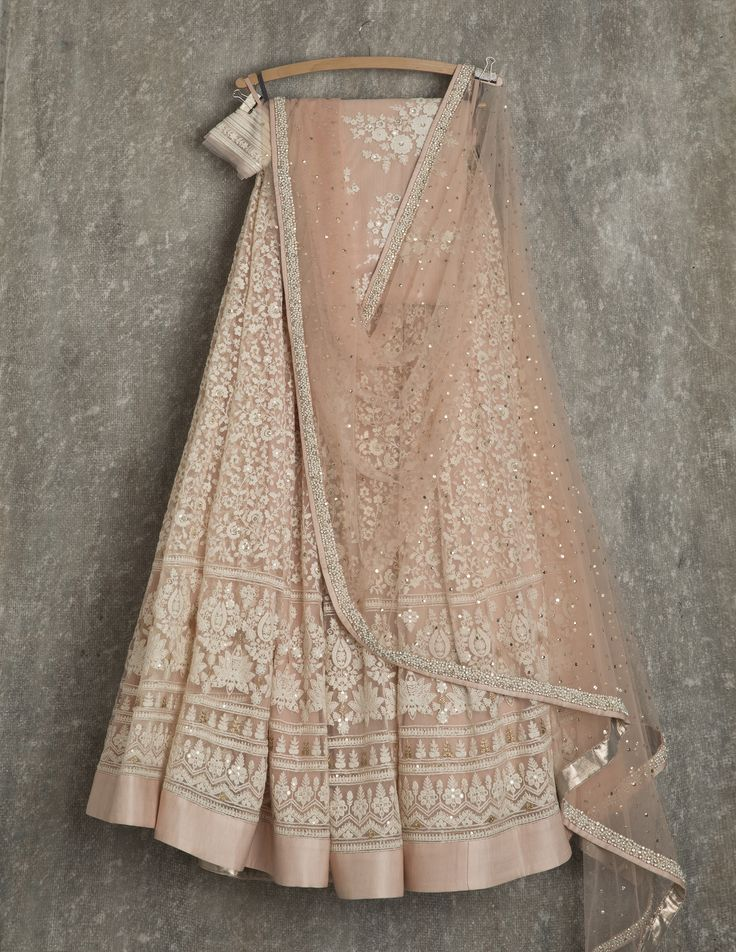 SwatiManish Lehengas SMF LEH 153 17 Khaki rose lehenga and dupatta with threadwork blouse