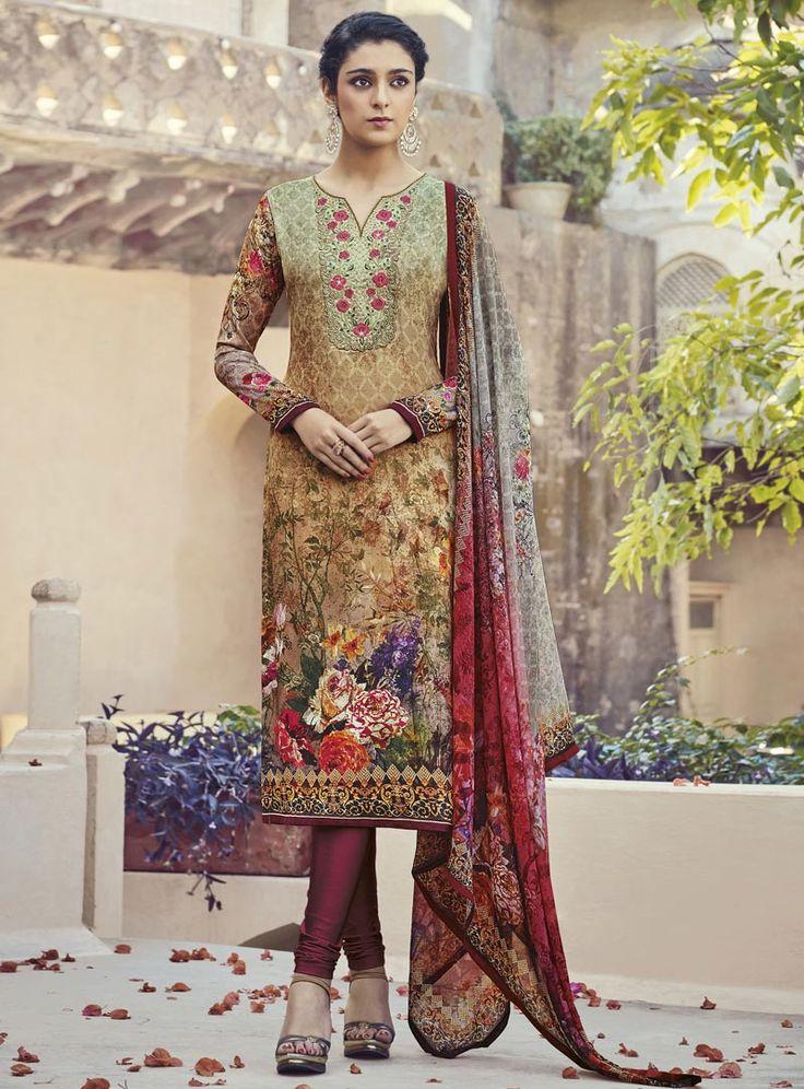 Brown Crepe Churidar Salwar Suit 84692
