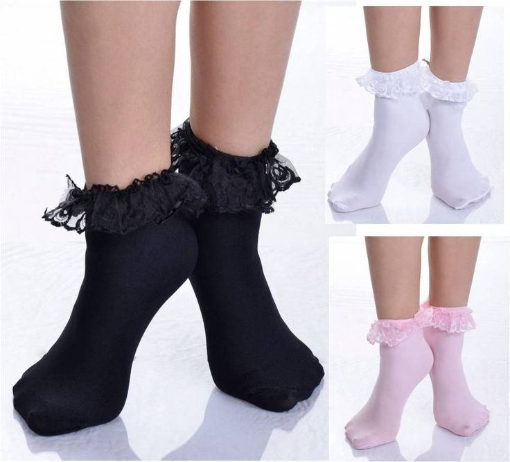 Ruffled Lace Top Ankle High Socks Nylon Frilly Trim Anklet Lolita Pin-Up Retro #MusicLegs #Casual