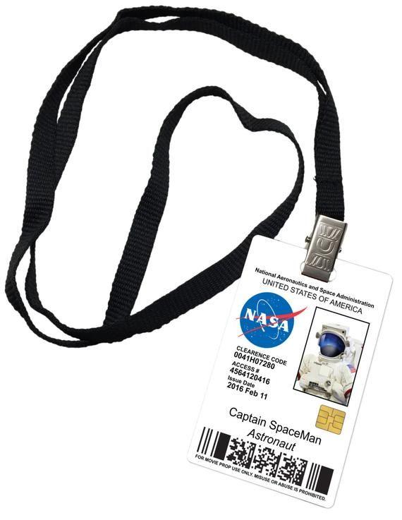 Captain Spaceman Nasa Novelty Id Badge Prop Costume Etsy Nasa Badge Nasa Party