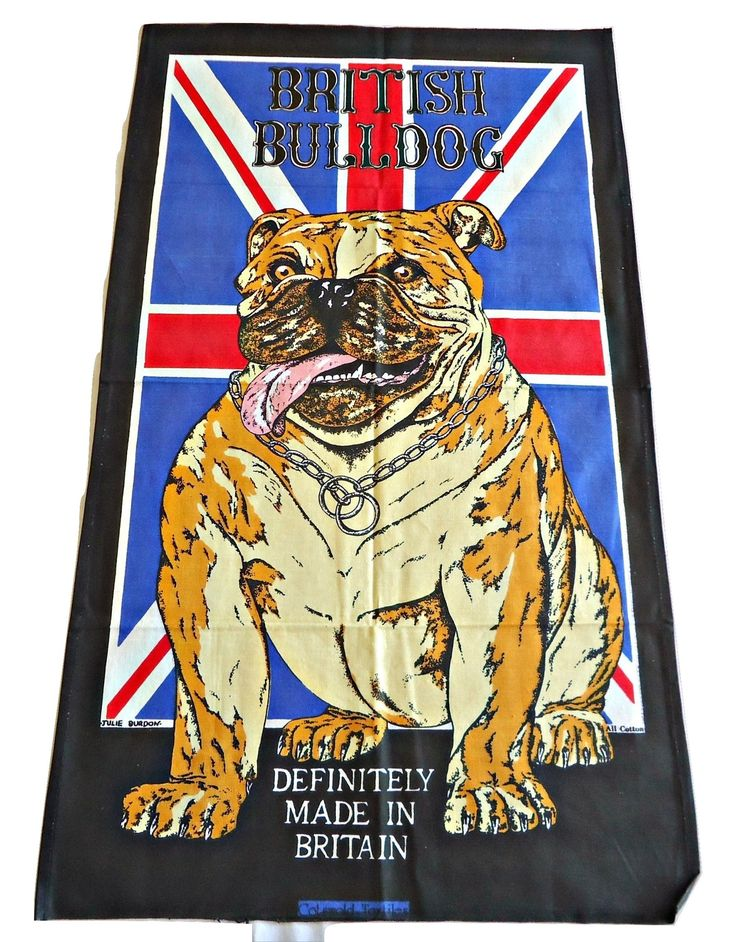 Tea Towel Souvenir Tea Towel British Bulldog Definitely Made In England by TreasureCoveAlly on Etsy