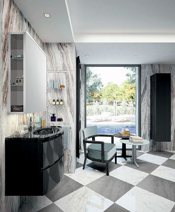 Black polished lacquer and white and grey marble tiles: the perfect italian style. Esprit bathroom collection by Oasis.