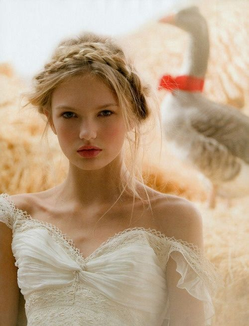Beautiful wedding hair style braid white ethereal gashion makeup