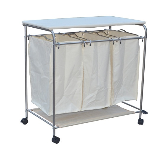 aosom 3bin rolling laundry hamper sorter cart with wheels and ironing board