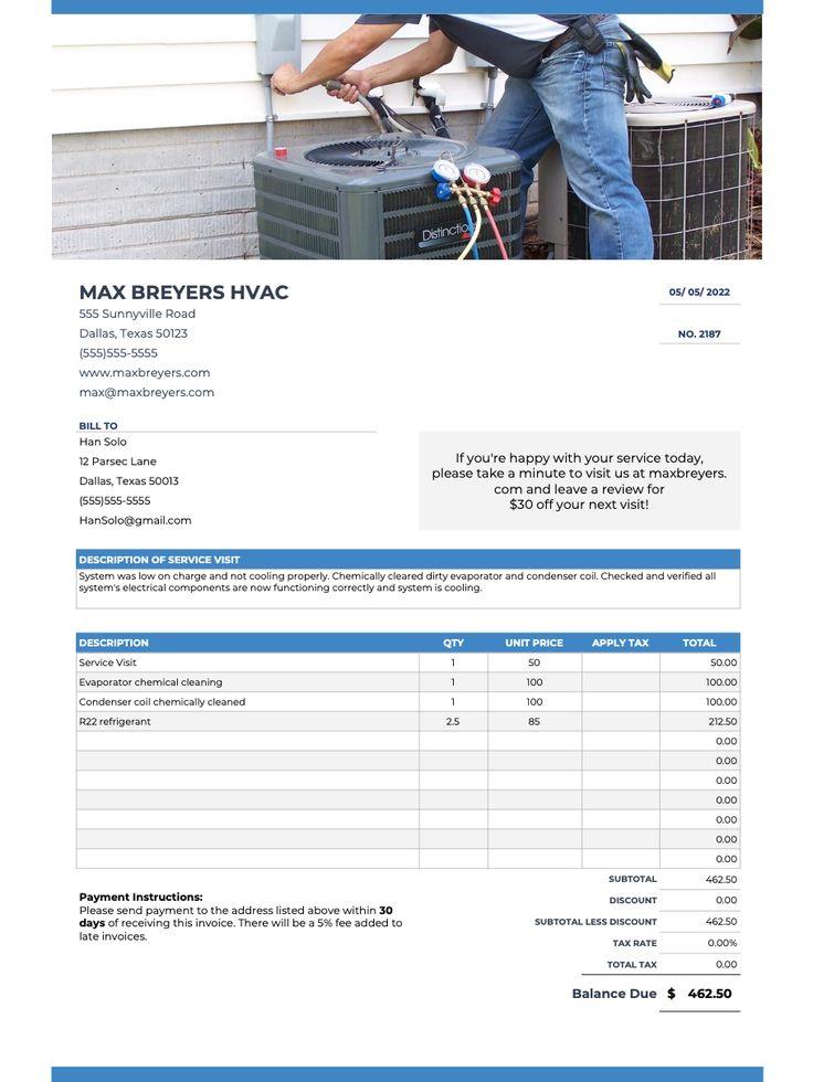 HVAC invoice templates FREE! appliance repair plumbing