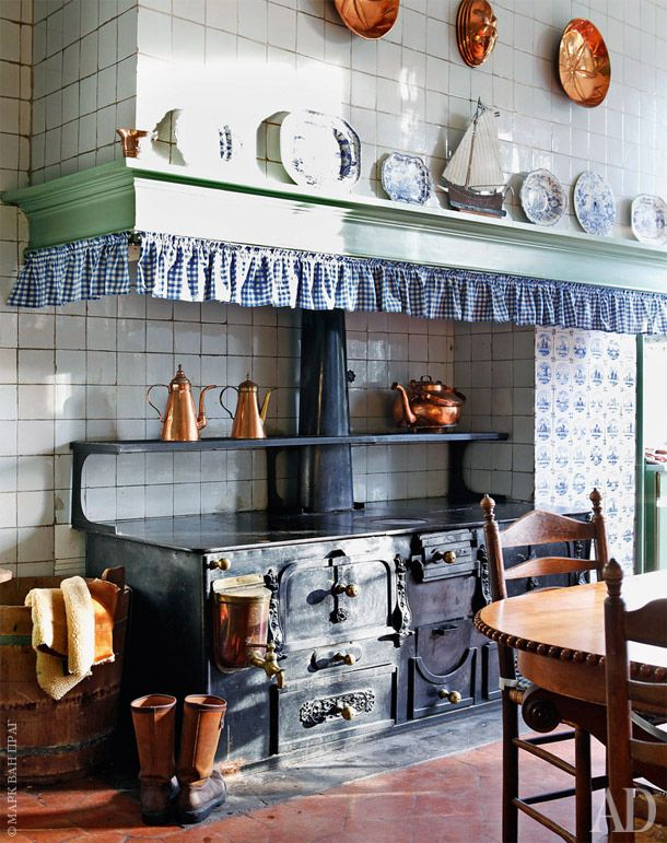 Room of the Day ~ fresh blue and white French kitchen with gingham ruffle around stove, copper pans ~ charmante - 11.27.2014