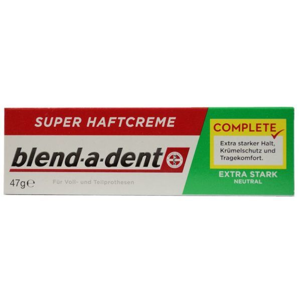 German blend-a-dent Super Denture Adhesive Cream Extra Stark NEUTRAL (Green) 47g