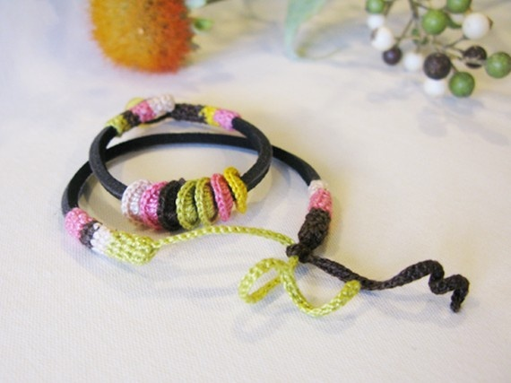 leather and crochet bracelet