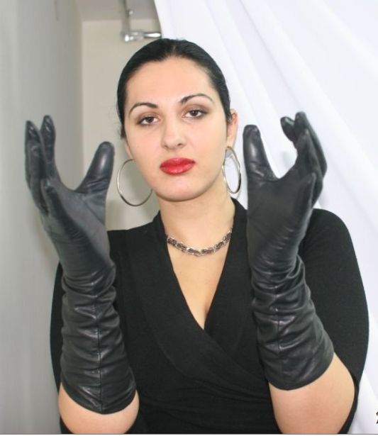 Ladies in leather gloves pictures