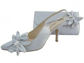 Rosa Silver Evening Shoes. Silver wedding shoes and matching bag