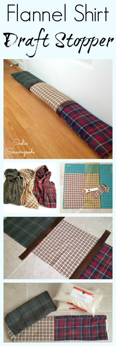 Use Some Flannel Shirts From The Thrift Store And Repurpose Them Into A  Patchwork Flannel Draft Stopper To Keep The Cold Air ...