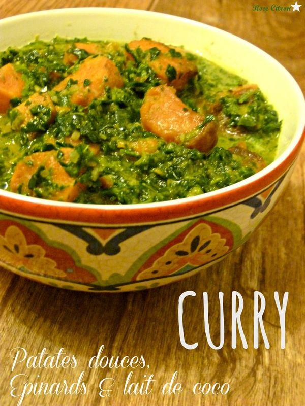 Curry de patates douces, épinards & lait de coco
