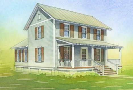 """1200 SF 2 storey Katrina Cottage Some say it is an exercise in bad branding, like naming a line of prefabs 'Mt. St. Helens Villas' or 'Hurricane Andrew Mobile Homes.' But in fact Marianne Cusato's original Katrina Cottage was so cute that """"Katrina"""