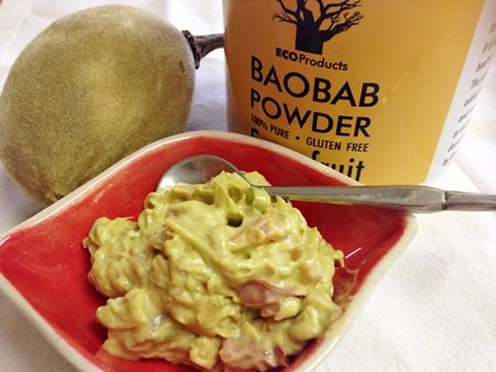 Baobab recipe: Africa meets Mexico = Bao-Guacamole! Mix together: • 3 ripe avocados  1 tbsp baobab powder • salt and freshly ground black pepper to taste • 2 tbsp thick cream (optional) • ½ onion finely sliced • 1 ripe tomato, deseeded and chopped • 1 red chili, deseeded and chopped • 1 clove garlic, crushed  Serve with tortilla chips or spread on toast.
