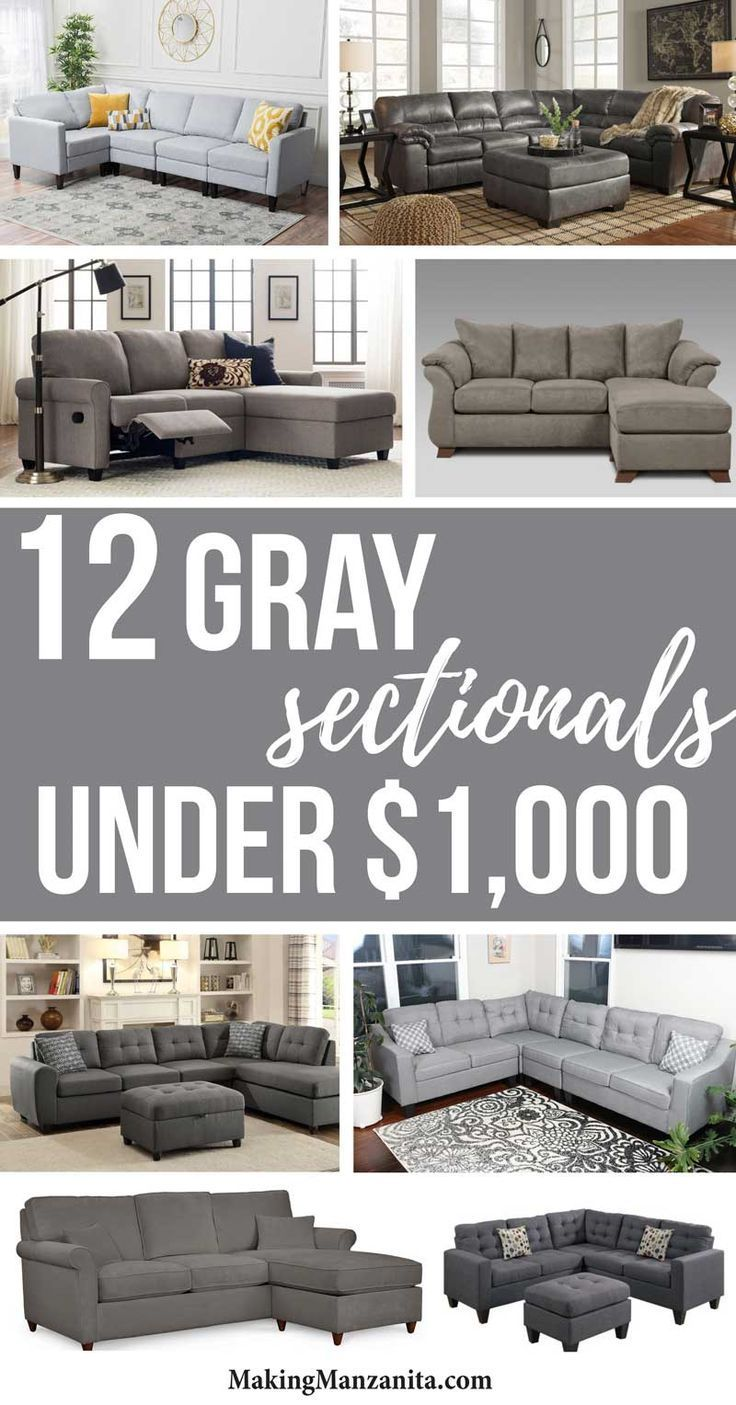 12 Gray Sectionals Under $1000 | Awesome Budget Friendly Sectional Sofa  Inspiration And Ideas With Pictures | Affordable Sofas That Fit In Small  Spaces With ...