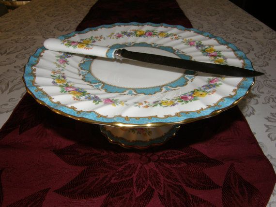 CROWN STAFFORDSHIRE Lyric-Tunis Scalloped Blue by GrannysCabinet