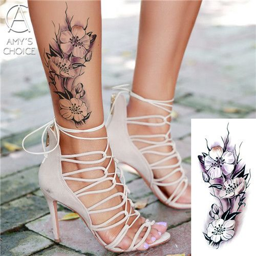 flash henna tattoo fake temporary waterproof sleeve women tattoos stickers Cherry blossoms rose flowers arm shoulder tattoo
