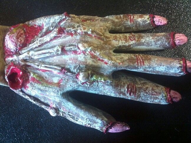 Zombie hands created by Mable Malley using garden gloves