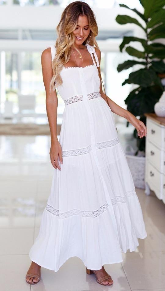 6efc4a368d White Backless Maxi Dress-Boho Dress