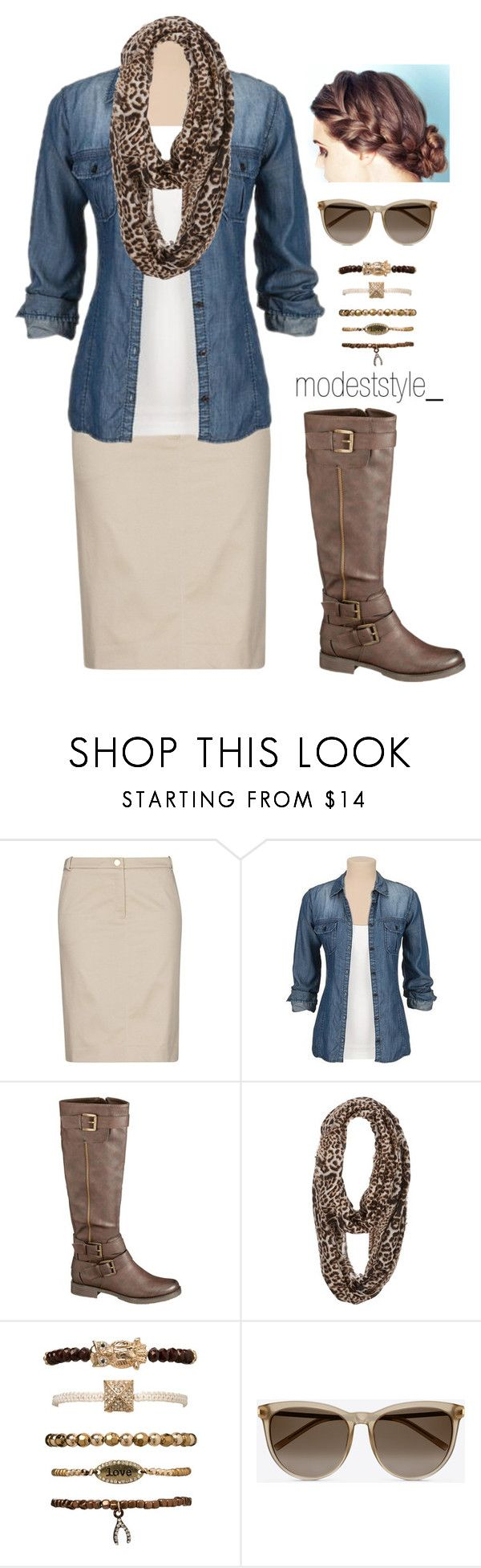 """Leopard and denim"" by modeststyle-studio ❤ liked on Polyvore featuring MANGO, maurices and Yves Saint Laurent"