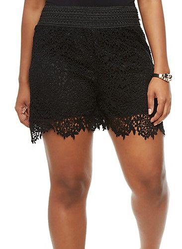 Plus Size Crochet Shorts | Black, Crochet shorts and Shorts