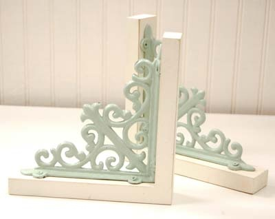 Bookends; scrolls from Hobby Lobby