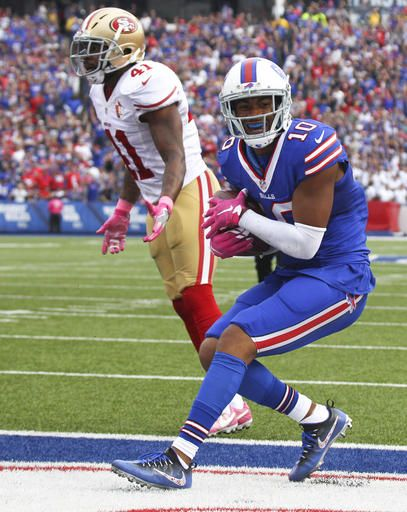 49ers vs. Bills:     October 16, 2016  -  45-16, Bills  -    Buffalo Bills wide receiver Robert Woods (10)  scores a touchdown in front of San Francisco  49ers strong safety Antoine Bethea (41) during  the second half of an NFL football game on  Sunday, Oct. 16, 2016, in Orchard Park, N.Y.  (AP Photo/Jeffrey T. Barnes)