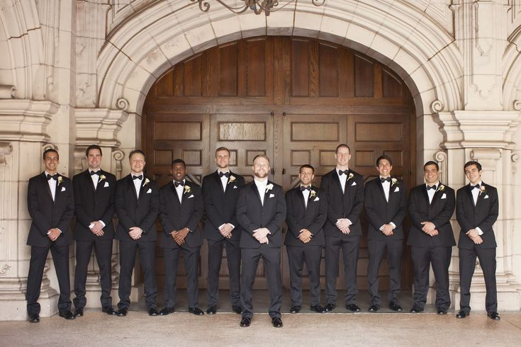 Victoria and Kyle Balboa park wedding, men in black, suits, bow ties, white boutonnieres, groomsmen wedding outfit inspiration, uniform http://loveluxelife.com/love-victoria-and-kyle-prado-balboa-park/