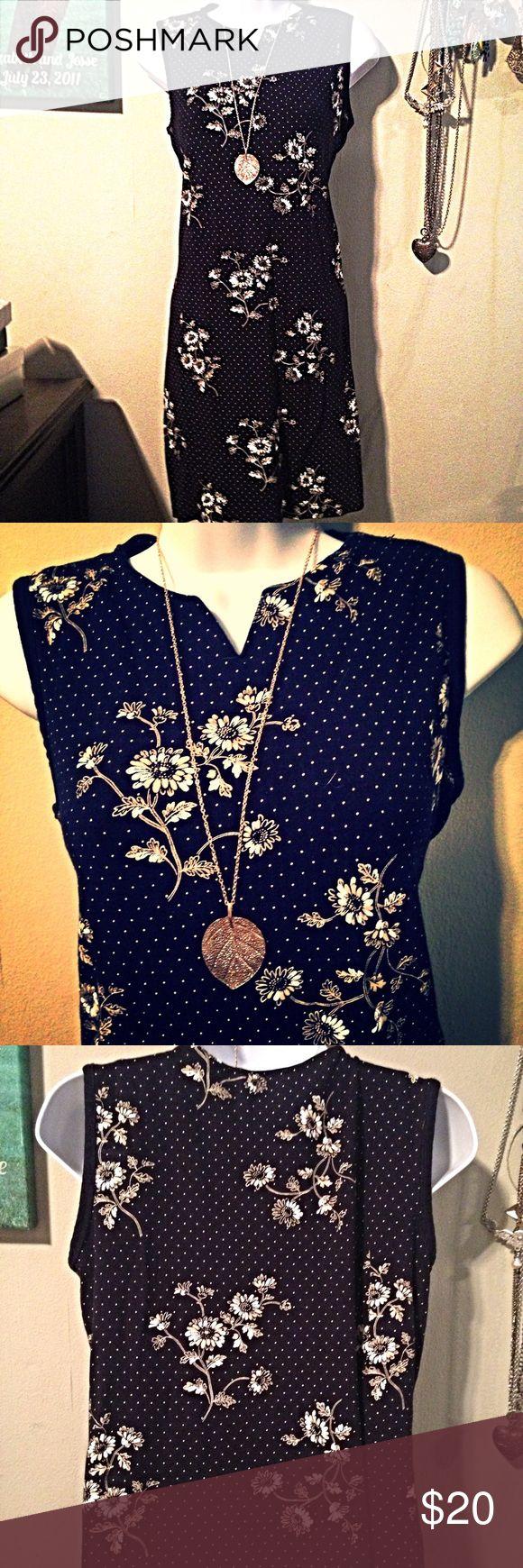 Liz Claiborne Flower and Polka Dot Dress Petite Dress. 33 inches long. Liz Claiborne Dresses Midi