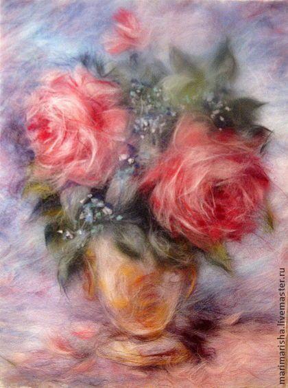 Картина из шерсти Старинный романс. Розы и незабудки. - коралловый,картина из шерсти
