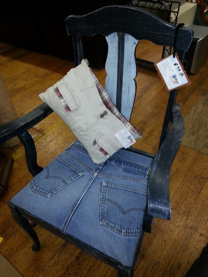 Hand Painted Chair With Blue Jean Seat And Zipper Back. Pillow Made From  Upcycled Clothes