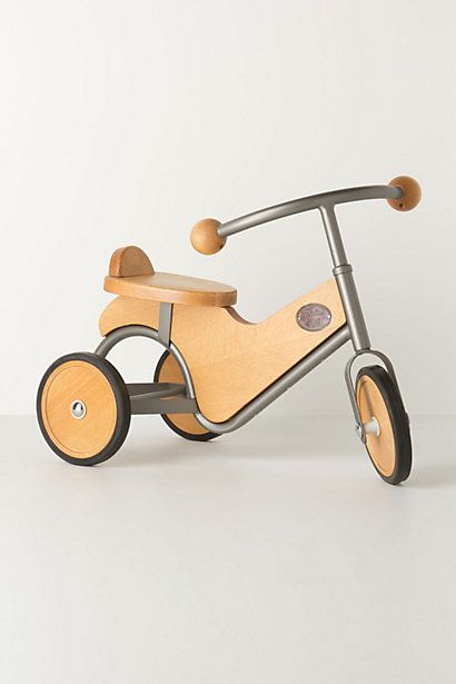 Hickory-Tock Tricycle. I would like to only buy my kids classy/classic toys. You know, wood and metal. Other people can give them stupid plastic things.