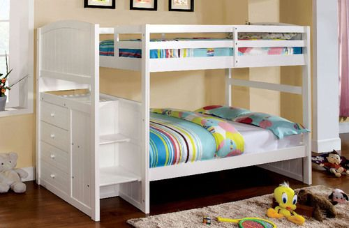 Furniture of America Appenzell White Twin Step 'N Store Bunk Bed CM-BK922T