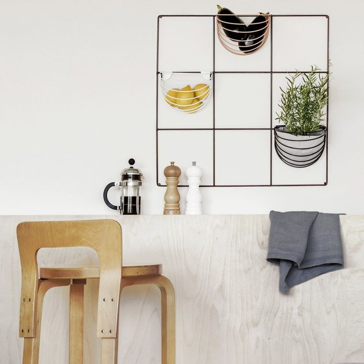 Wallment 9 Square Grid and Baskette wall baskets in the kitchen | Finnish Design | herb wall | fruit basket | Nordic minimalism