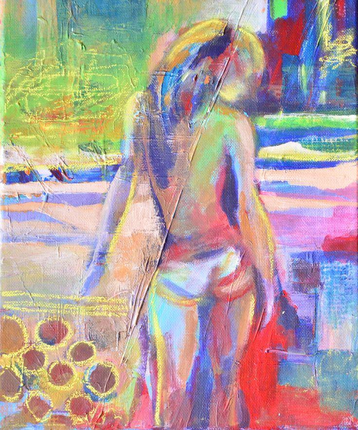 Dziewczyna , upalne lato, technika mieszana 30X25cm      :) kisses
