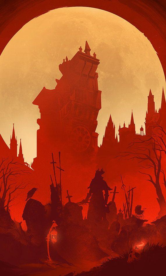 Bloodborne Art Print Yharnam Hunter Video Game door jefflangevin