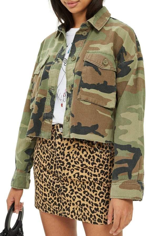 50b015c0e Topshop Benny Camouflage Crop Shirt Jacket  camo  leopard  fashion ...