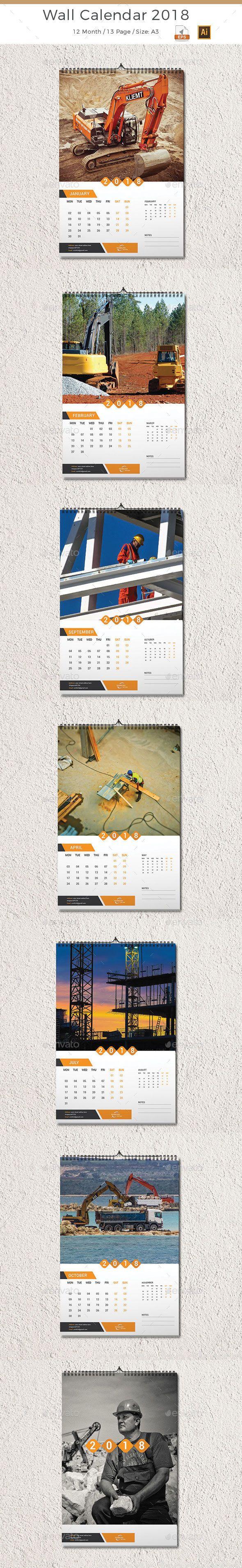 Wall Calendar 2018 - #Calendars #Stationery Download here: https://graphicriver.net/item/wall-calendar-2018/19995961?ref=alena994