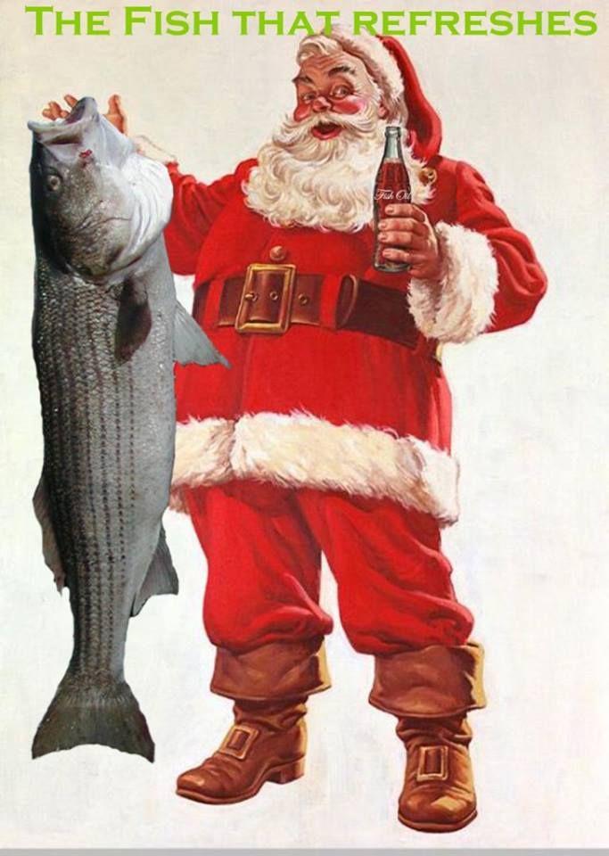 Santa claus fishing striped bass christmas fishing for Christmas fish starters