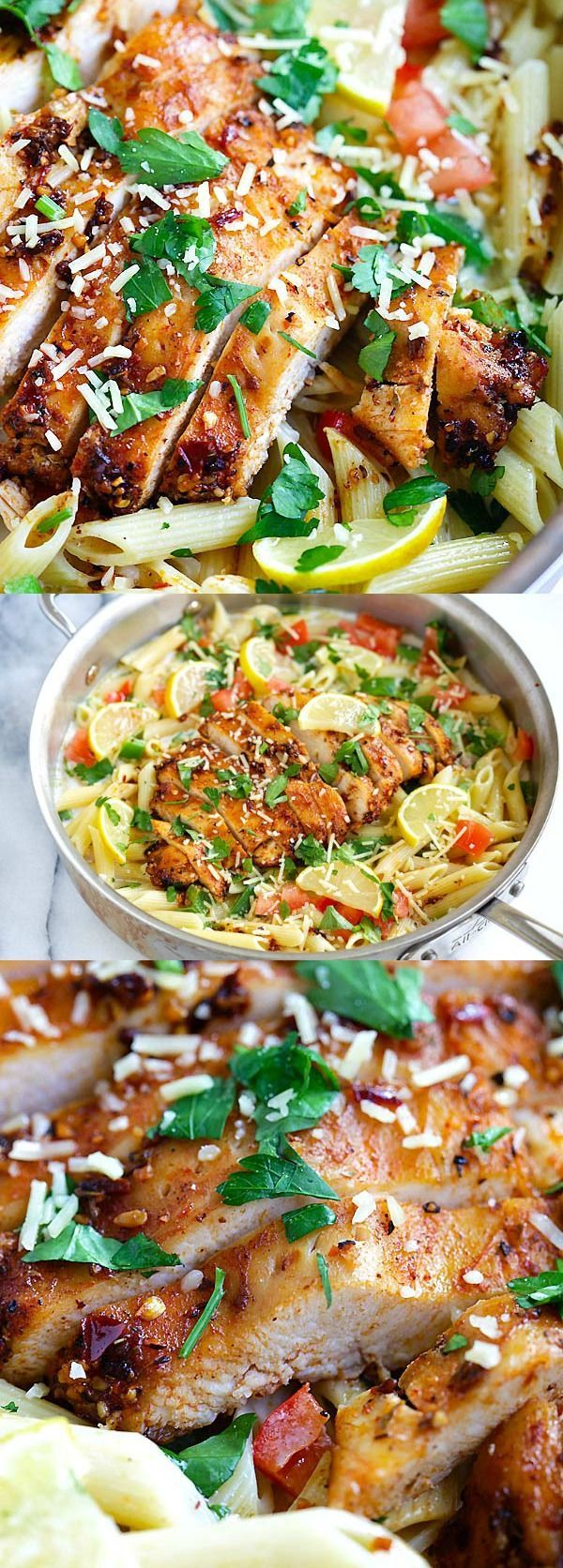 Blackened Chicken Pasta – Creamy pasta with spicy blackened spice chicken breast. Family friendly dinner has never been so good | http://rasamalaysia.com