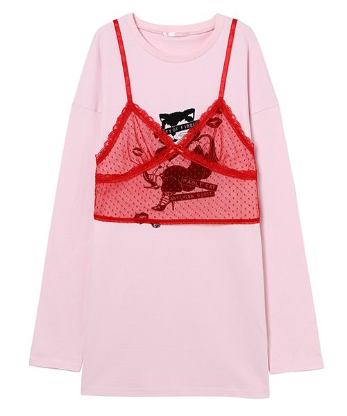 MADLY CAT LONG TEE & TULLE CAMISOLE(RED×PINK-2)
